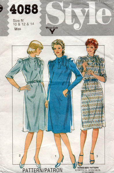Style 4058 Womens Straight Dress or Top & Skirt 1980s Vintage Sewing Pattern 10 12 14 UNCUT Factory Folded