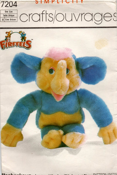 simplicity 7204 elephonkey stuffed toy