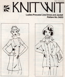Knitwit 3400 Womens Stretch Knit Princess Cut Dress & Jacket 70s Vintage Sewing Pattern Size 6 - 22 UNCUT Factory Folds