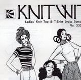 Knitwit 3300 Womens Stretch Knit T Shirt Top & Dress 70s Vintage Sewing Pattern Size 6 - 22 UNCUT Factory Folds