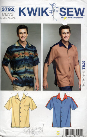 8a1ab399d9cc7 Kwik Sew 3792 Mens Button Front Shirt Out Of Print Sewing Pattern Size S -  XXL UNCUT Factory Folded