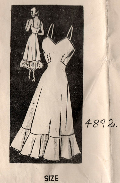 Mail Order 4892 Womens Shaped Full Slip with Embroidery Transfers 50s Vintage Sewing Pattern Bust 32 inches