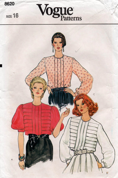 vogue 8620 70s tucked blouses