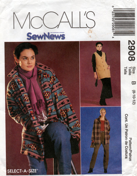 McCall's 2908 oop jacket vest top pants skirt