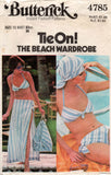 Butterick 4785 Womens Tie On Beach Wardrobe Including Bikini 1970s Vintage Sewing Pattern Size 12