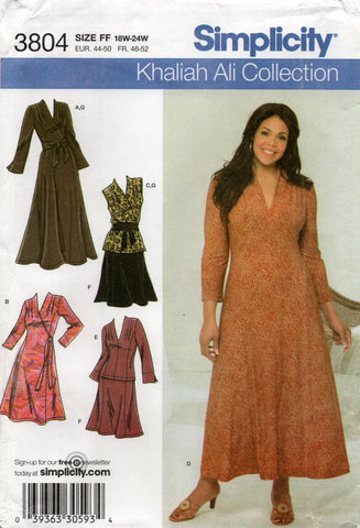 simplicity 3804 khalia ali stretch wrap dress top skirt oop