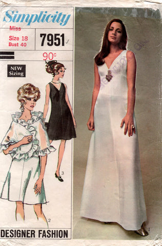 simplicity 7951 60s designer dress and stole