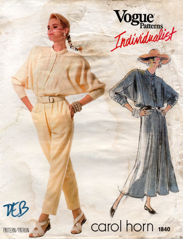 Vogue 1840 carol horn jumpsuit and dress 80s
