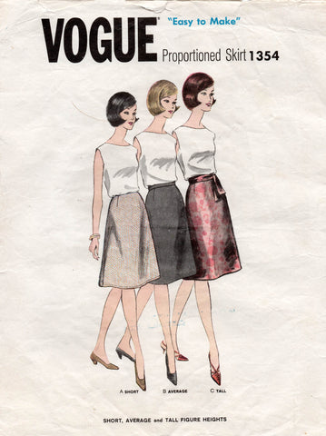 Vogue 1354 proportioned skirts 60s