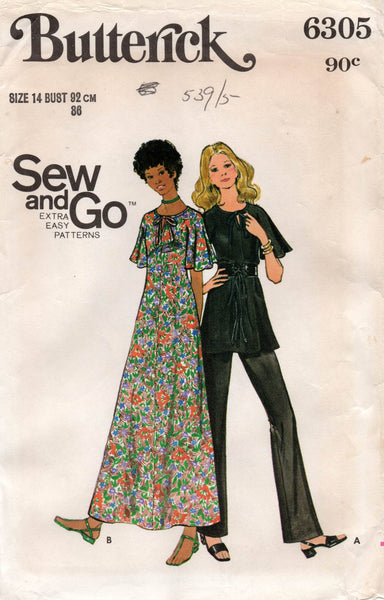 butterick 6305 70s dress top and pants