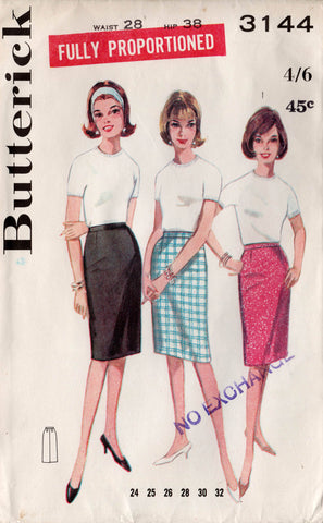 butterick 3144 60s proportioned skirts
