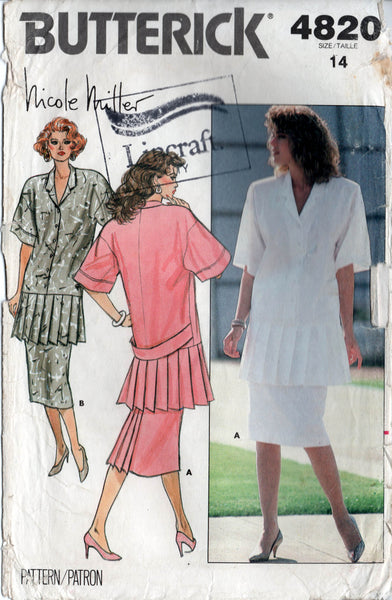 butterick 4820 nicole miller pleated top and skirt 80s