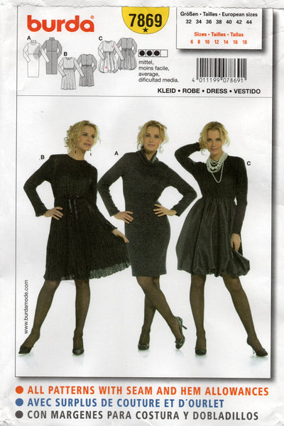 burda 7869 oop dresses