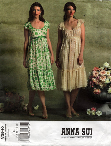 Vogue American Designer 2940 ANNA SUI Womens Flutter Sleeved Dress Out Of Print Sewing Pattern Size 14 and 16