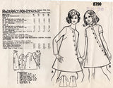 Mail Order 8790 Womens Asymmetric Buttoned Tent Dress 1960s Vintage Sewing Pattern Size 14 Bust 36 inches