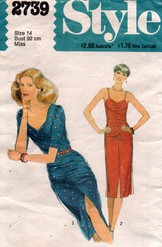 style 2739 ruched evening dresses 70s