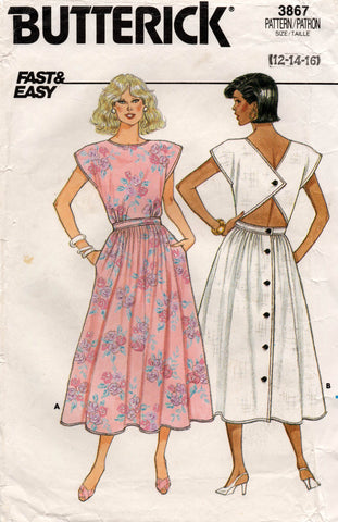 Butterick 3867 Womens Back Buttoned Dress 80s Vintage Sewing Pattern Sizes 12 14 16 UNCUT Factory Folds