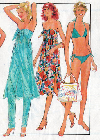 73076c000221e Style 3048 Womens Dress / Skirt Pants & Bikini 80s Vintage Sewing Pattern  Size 12 Bust 34 Inches