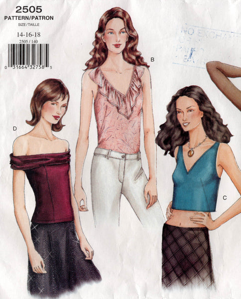 Vogue Basic Design 2505 Womens Evening Tops OOP Sewing Pattern Size 14 16 18