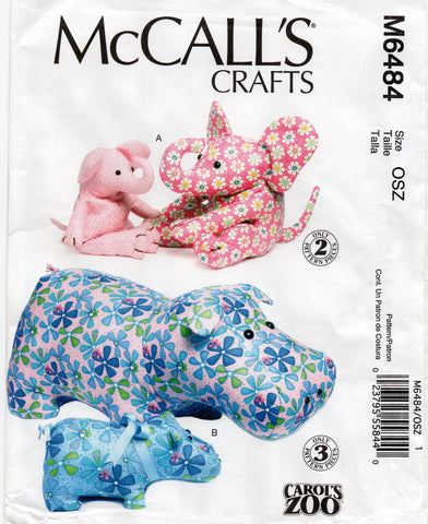 McCall's 6484 stuffed elephants and hippo