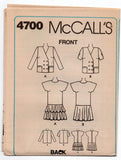 McCall's 4700 Womens Half Size Drop Waisted Dress & Jacket 90s Vintage sewing pattern Size 16 1/2 Bust 39 inches UNCUT Factory Folds