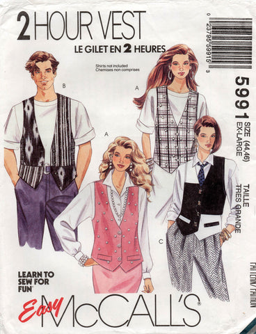 5a31c0246d648 McCall's 5991 Womens Mens UNISEX Vests 1990s Vintage Sewing Pattern Sizes  XL Chest/ Bust 44 - 46 Inches UNCUT Factory Folds