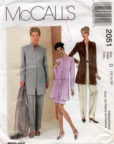 McCall's 2051 Womens Lined Jacket Skirt & Pants 90s Vintage Sewing Pattern Size 12 14 16 UNCUT Factory Folds