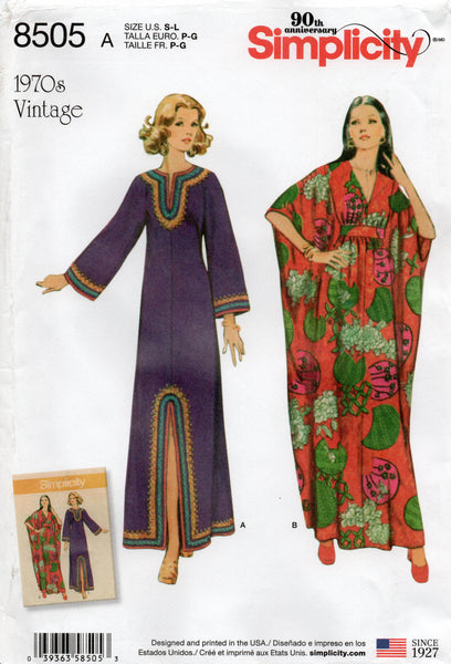 Simplicity 8505 Womens 1970s Reprint Caftan Sewing Pattern Size S M L UNCUT Factory Folds