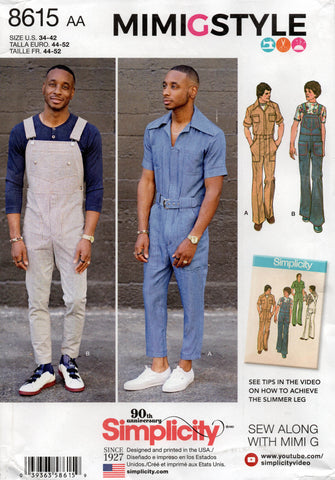 simplicity 8615 mens jumpsuit and overalls