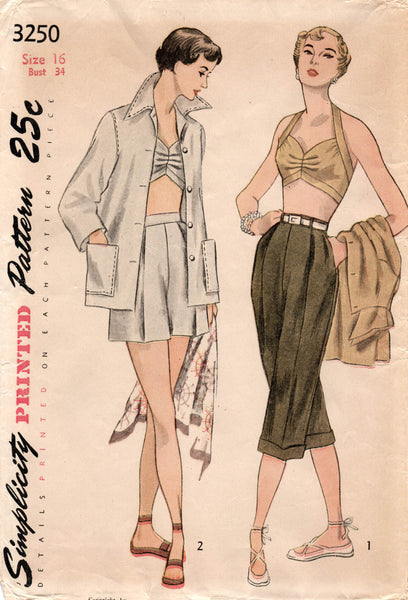 Simplicity 3250 50s bra top shorts pants jacket