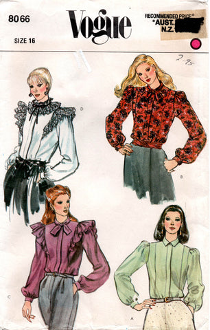 2aa8c743e08648 Vogue 8066 Womens Romantic Steampunk Style Blouses 80s Vintage Sewing  Pattern Size 16 UNCUT Factory Folded