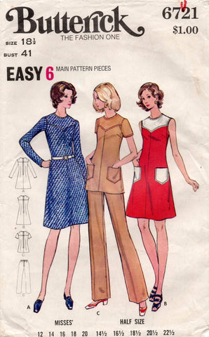 a90c5709a1 Butterick 6721 Womens EASY Half Size Dress Tunic & Pants 70s Vintage Sewing  Pattern Size 18 1/2 Bust 41 inches
