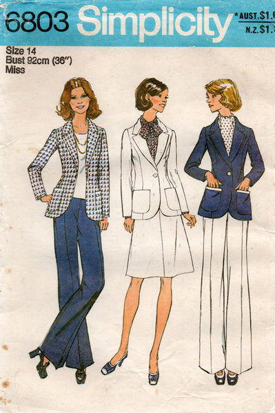 simplicity 6803 70s pants skirt jacket