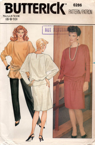 2e149b15d0b3f Butterick 6286 Womens Batwing Sleeved Dress Top & Pants 80s Vintage Sewing  Pattern Size 6 8 10 UNCUT Factory Folds
