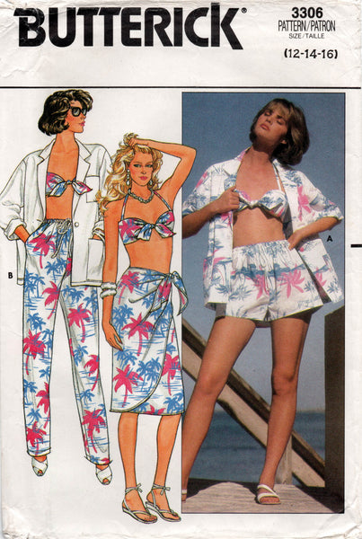 butterick 3306 80s beach wear