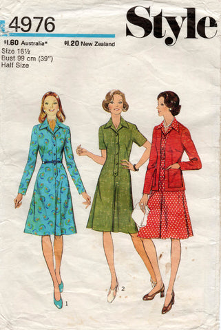 style 4976 half size dress and cardigan 70s