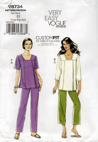 vogue 8734 plus size top and pants