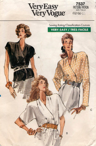 vogue 7537 wrap blouses 80s