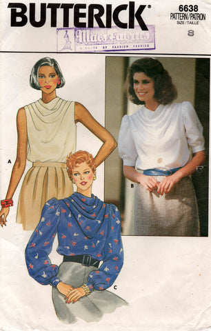 butterick 6638 80s cowl neck tops