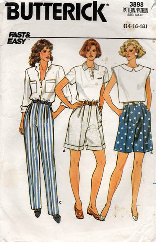 butterick 3898 80s pants and shorts