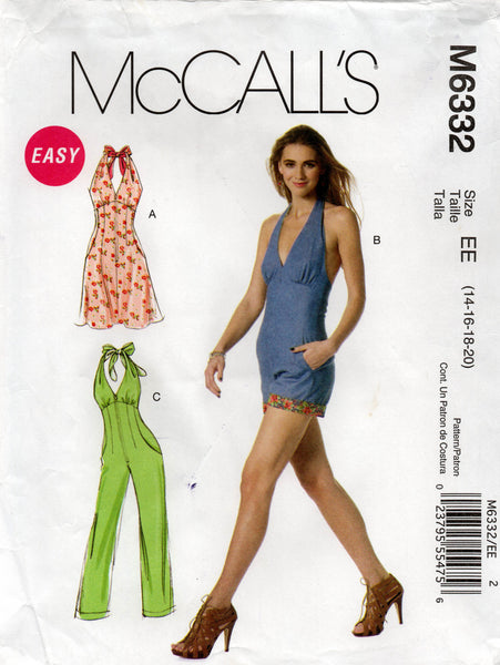 mccall's 6332 oop jumpsuit romper dress
