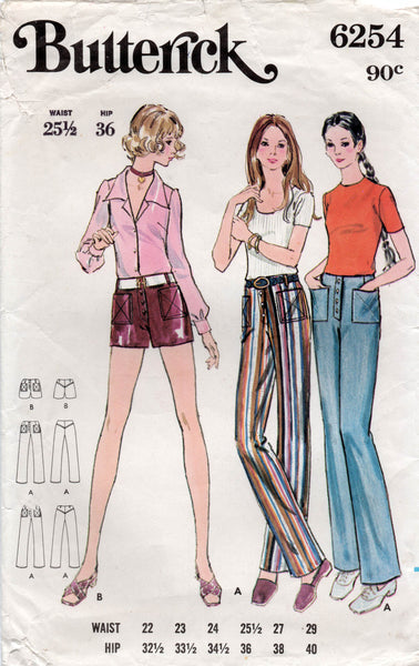butterick 6254 70s shorts and pants