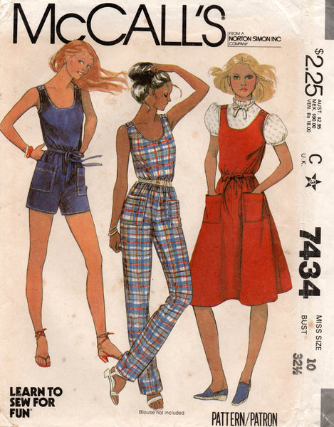 McCall's 7434 80s dress and jumpsuit