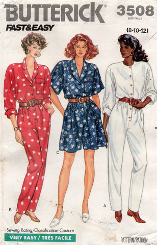 Butterick 3508 Womens EASY Jumpsuit Rompers 1980s Vintage Sewing Pattern Size 8 10 12