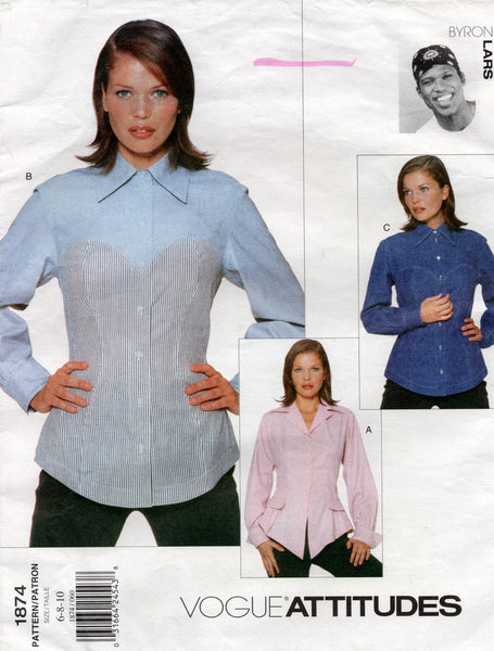 Vogue Attitudes 1874 BYRON LARS Womens Blouse with Optional Bustier Effect 1990s Vintage Sewing Pattern Size 6 - 10