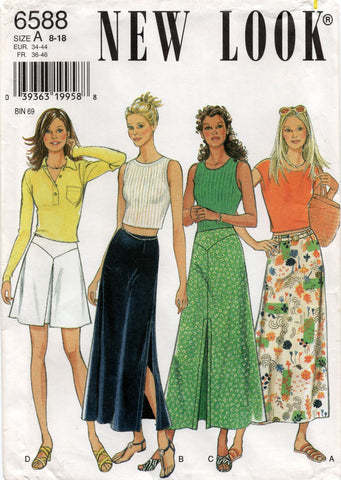 New Look 6588 Womens Plain or Pleated Skirts 90s Vintage Sewing Pattern Size 8 - 18 UNCUT Factory Folds