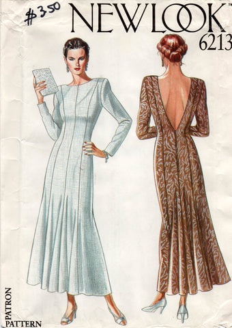 New Look 6213 Womens Low Back Evening Dress 1980s Vintage Sewing Pattern Sizes 8 - 18 UNCUT Factory Folded