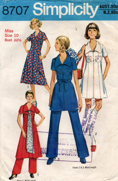 simplicity 8707 dress and pants 70s