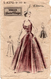 Vogue Special Design S- 4270 Womens RARE Halter Neck Gathered Bust Evening Gown 1950s Vintage Sewing Pattern Bust 32 or 34 inches