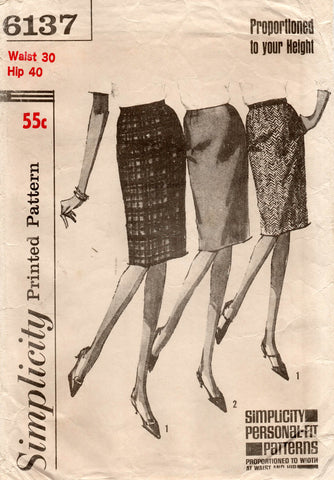 simplicity 6137 60s skirts